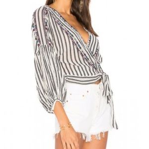Free People Barcelona Nights Striped Wrap Top